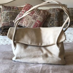 Off white suede Bally bag